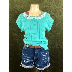 VTG🌈1980s green short sleeved knit top